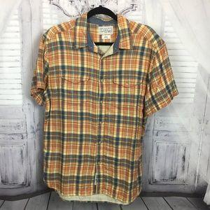 Lucky Brand Button Down Short Sleeve Shirt L